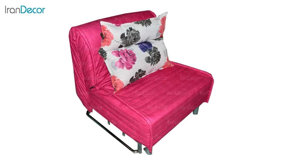 تصویر مبل تختخواب شو تک نفره کمجا مدل بطریسا صورتی گلدار