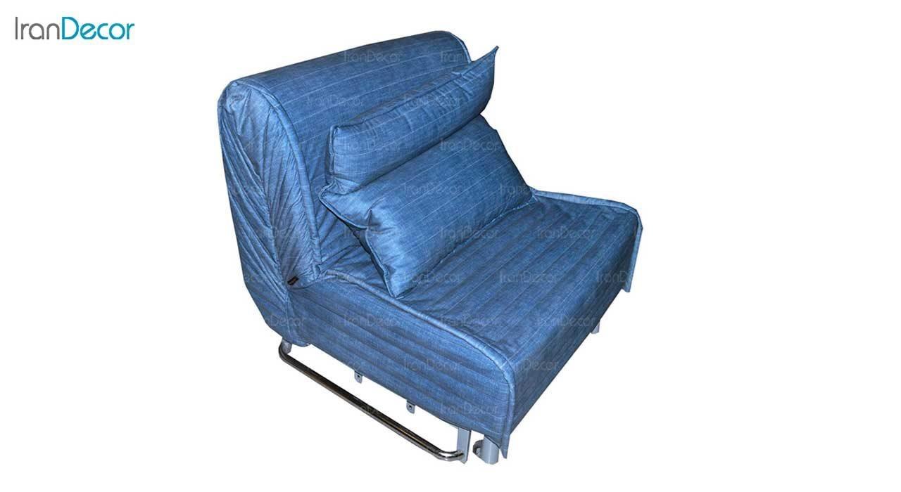 تصویر مبل تختخواب شو تک نفره کمجا مدل بطریسا نیلی