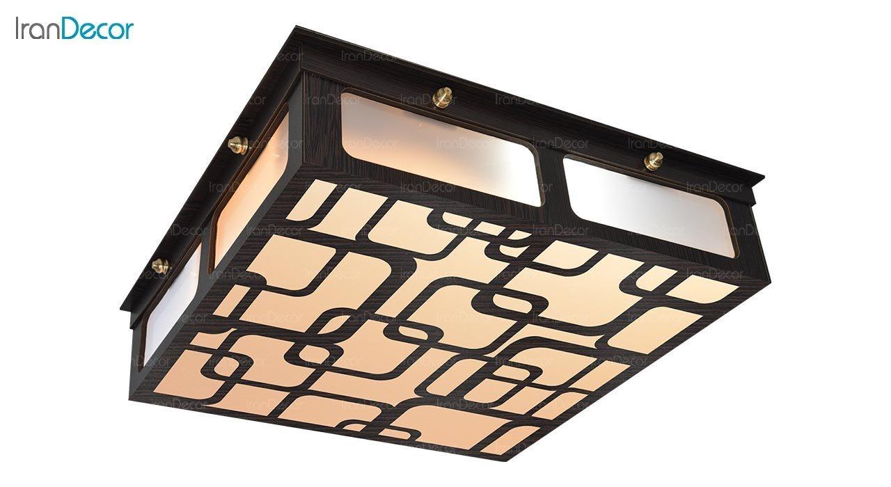 تصویر لوستر سقفی مدرن چوبی مدل آراد مربع