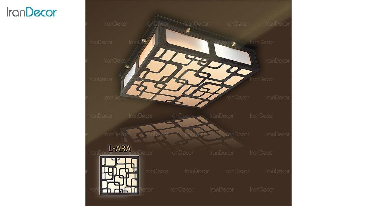 عکس لوستر سقفی مدرن چوبی مدل آراد مربع