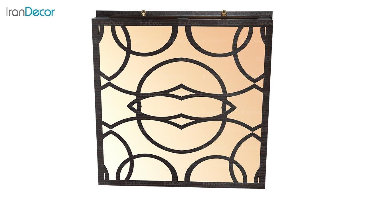 تصویر لوستر سقفی مدرن چوبی مدل گاردن مربع