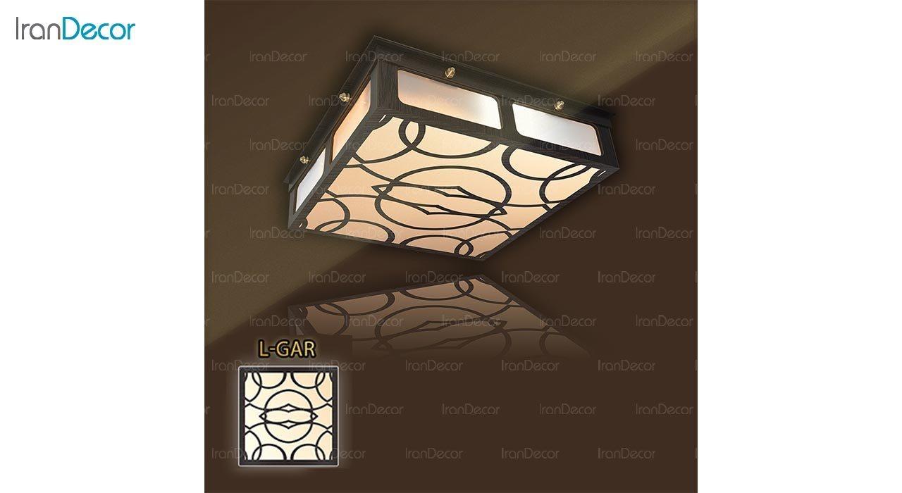 عکس لوستر سقفی مدرن چوبی مدل گاردن مربع