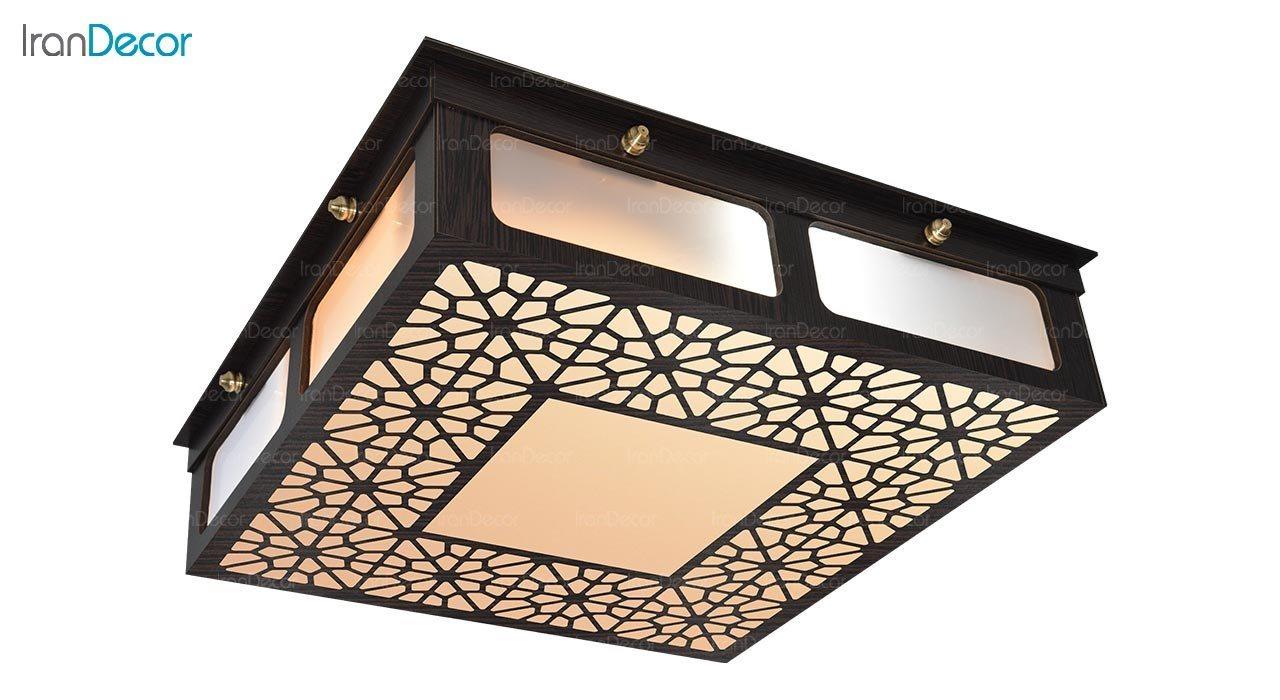 تصویر لوستر سقفی مدرن چوبی مدل گره چینی میکس مربع