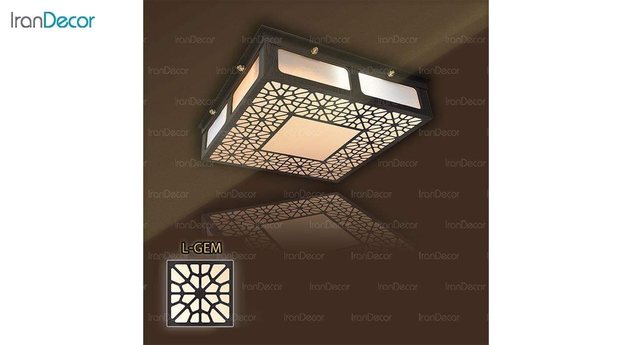 عکس لوستر سقفی مدرن چوبی مدل گره چینی میکس مربع