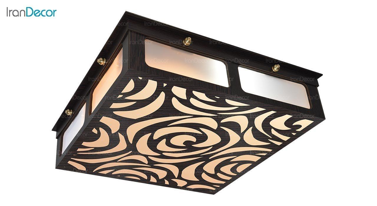 تصویر لوستر سقفی مدرن چوبی مدل هاوایی مربع