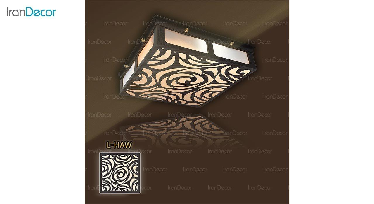 عکس لوستر سقفی مدرن چوبی مدل هاوایی مربع