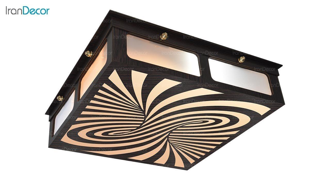 تصویر لوستر سقفی مدرن چوبی مدل هلیکس مربع
