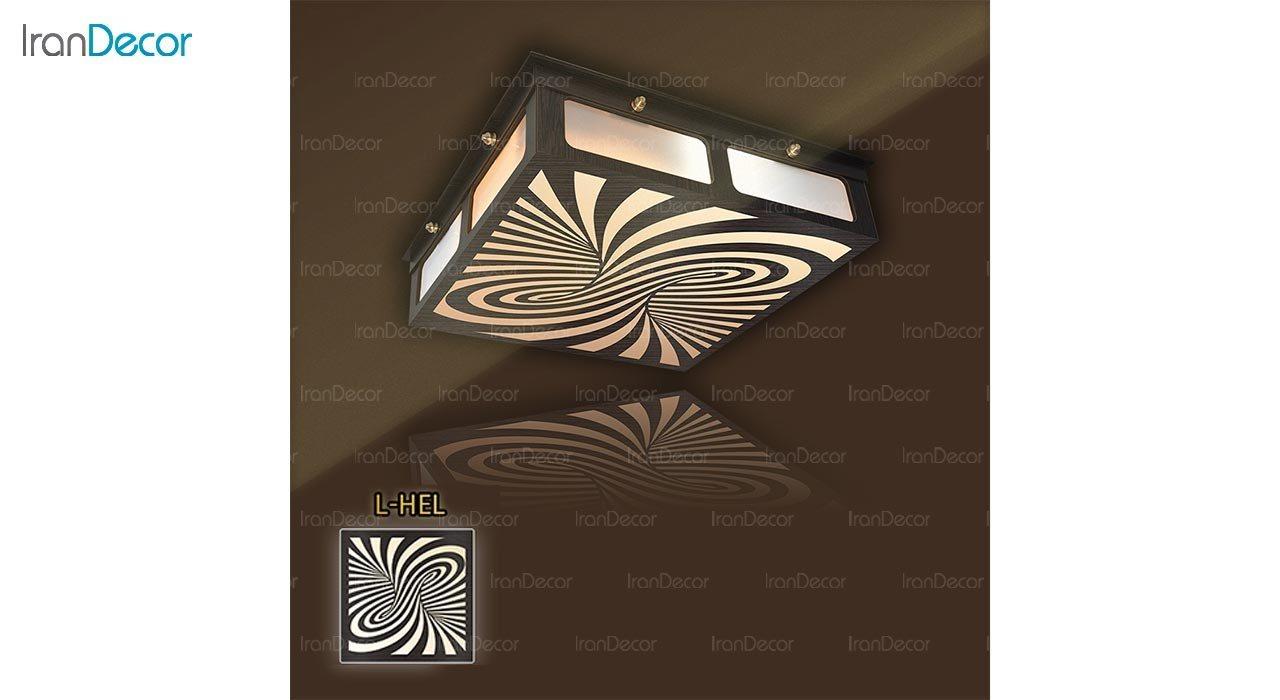 عکس لوستر سقفی مدرن چوبی مدل هلیکس مربع