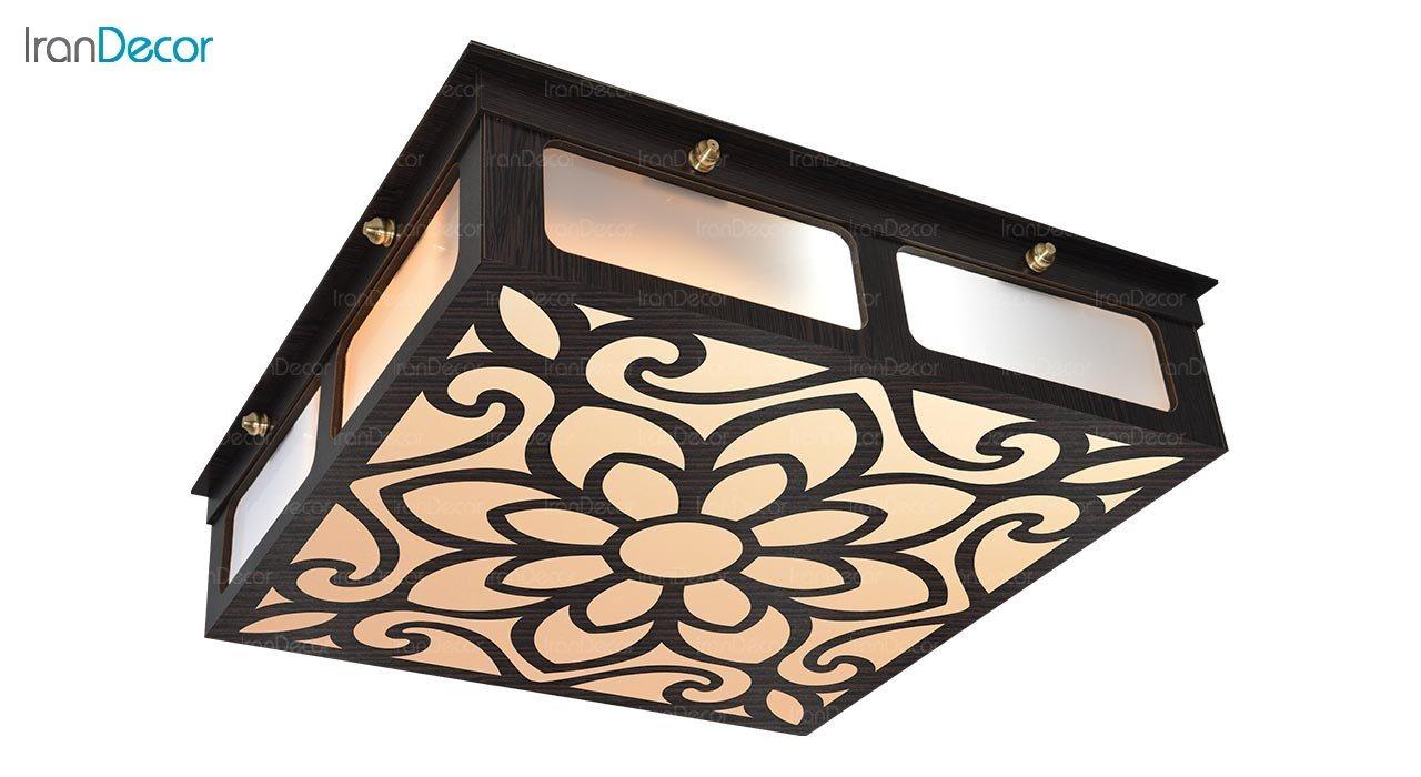تصویر لوستر سقفی مدرن چوبی مدل نارسیس مربع