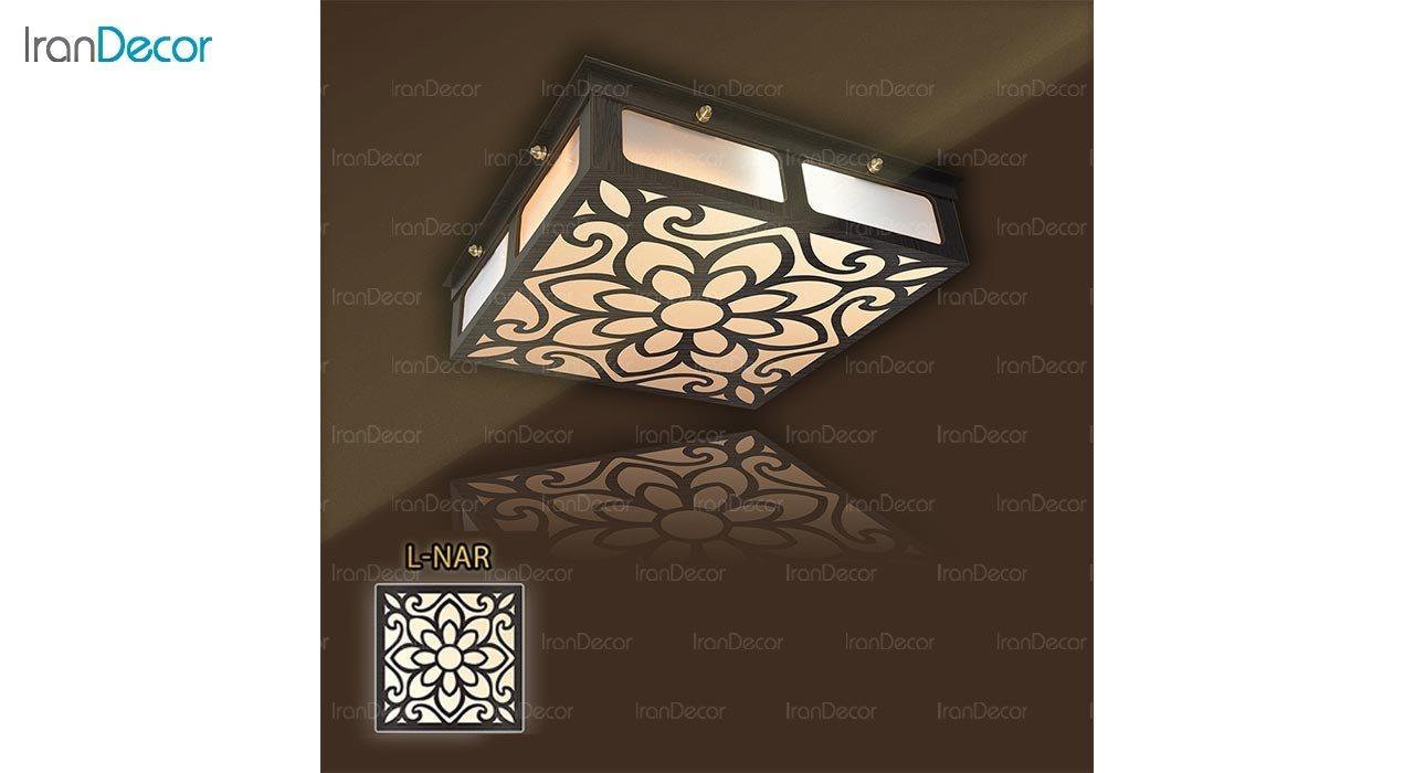 عکس لوستر سقفی مدرن چوبی مدل نارسیس مربع