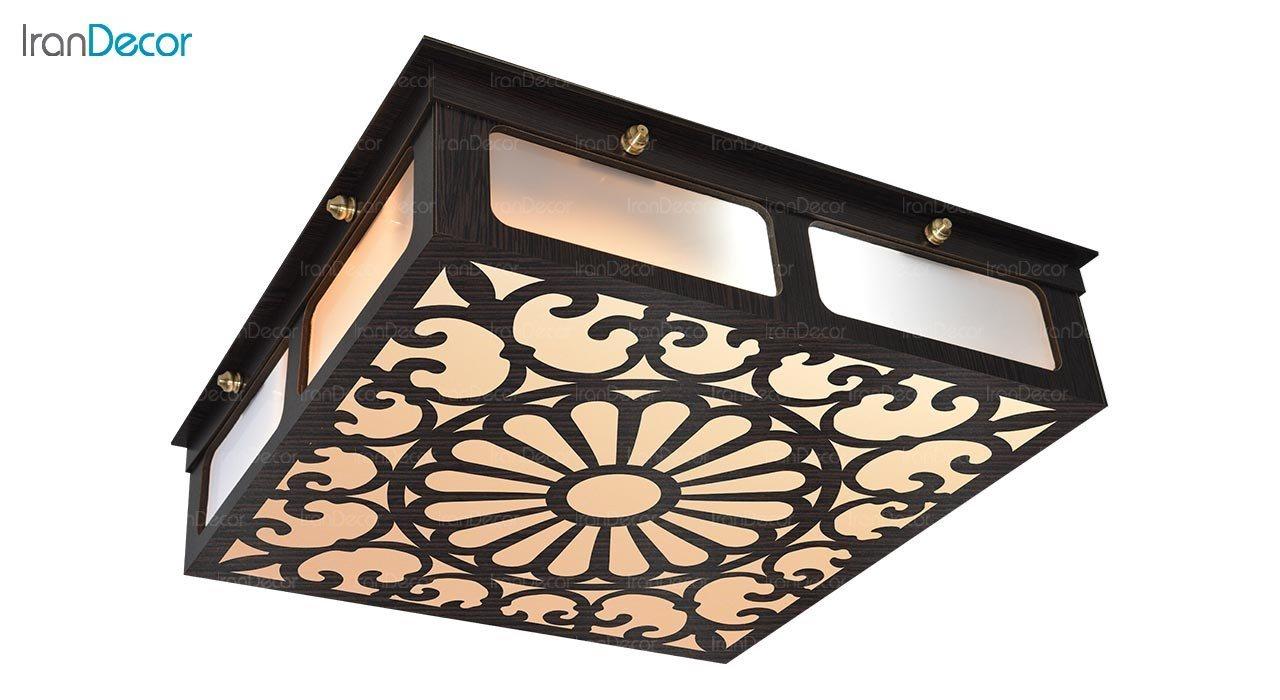 تصویر لوستر سقفی مدرن چوبی مدل پرسیس مربع