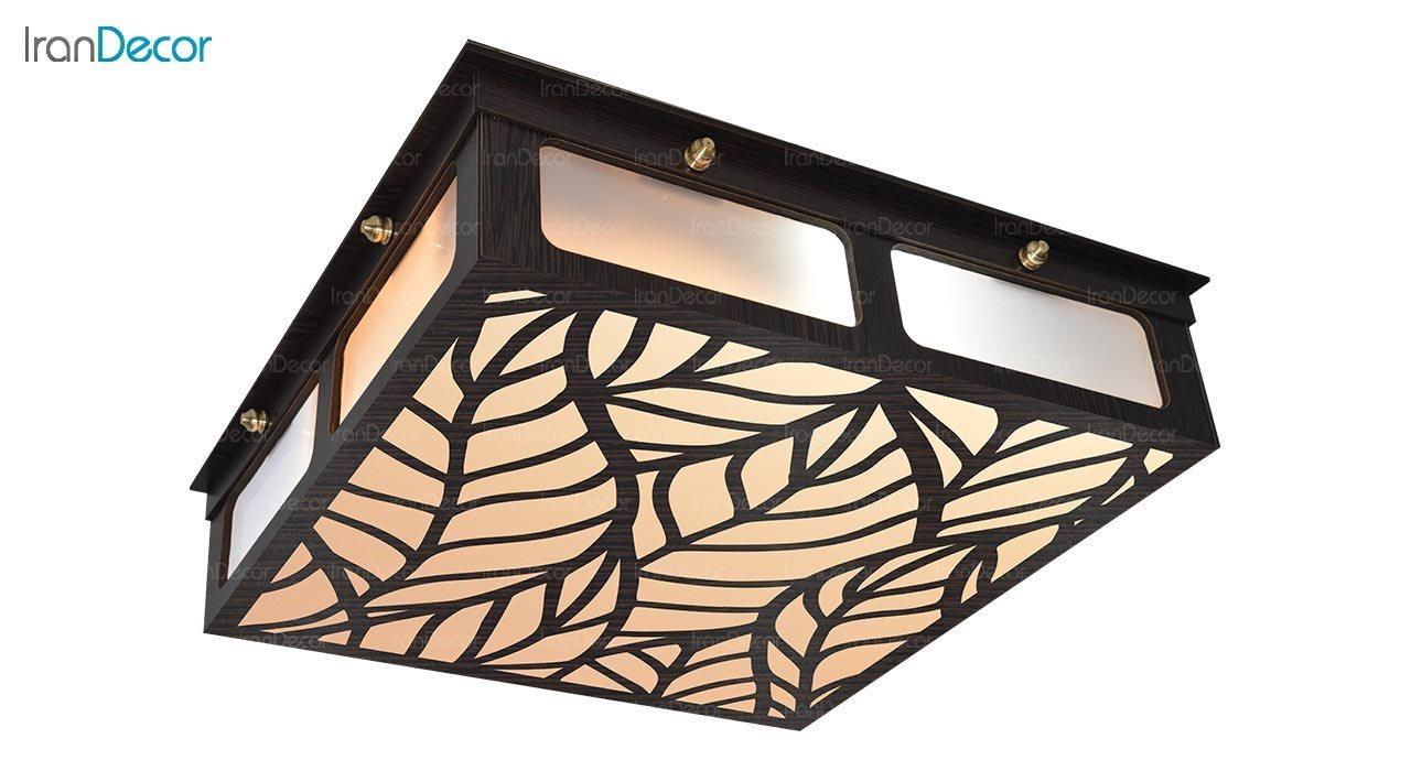 تصویر لوستر سقفی مدرن چوبی مدل ریو مربع