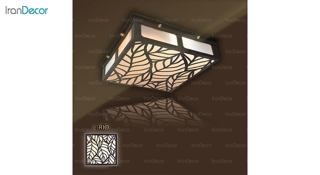 عکس لوستر سقفی مدرن چوبی مدل ریو مربع
