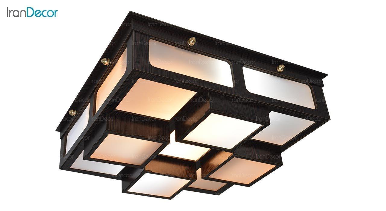 تصویر لوستر سقفی مدرن چوبی مدل روبیک مربع
