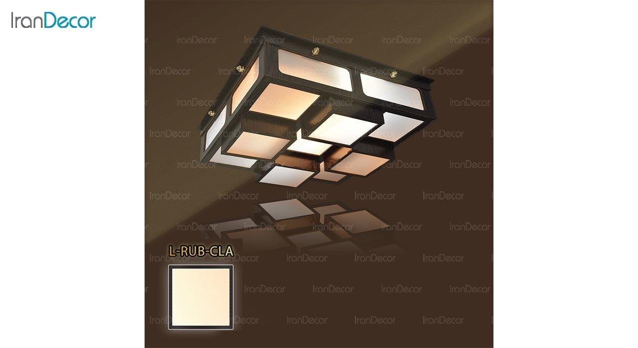 عکس لوستر سقفی مدرن چوبی مدل روبیک مربع