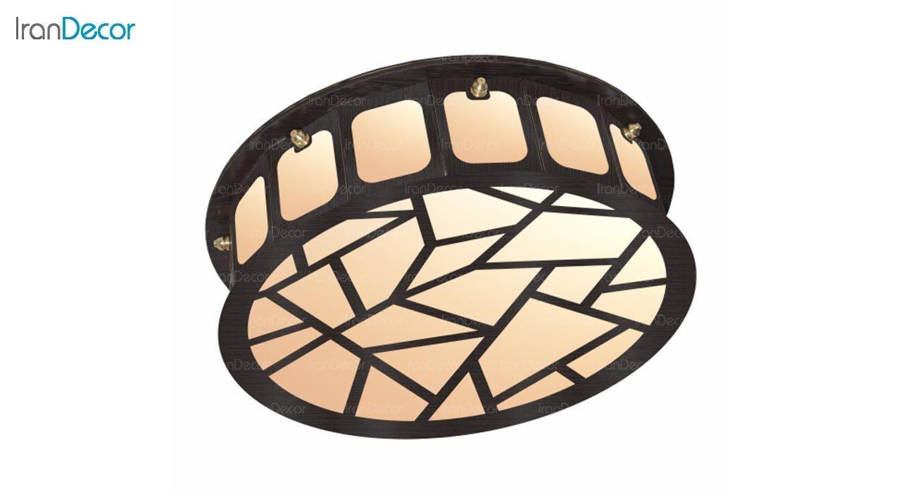 تصویر لوستر سقفی مدرن چوبی مدل سنگی گرد