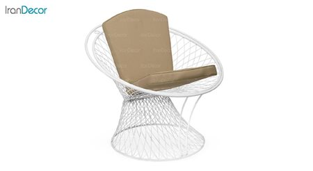 تصویر صندلی باغی گرد مدل بامبو سفید از صنیع کار