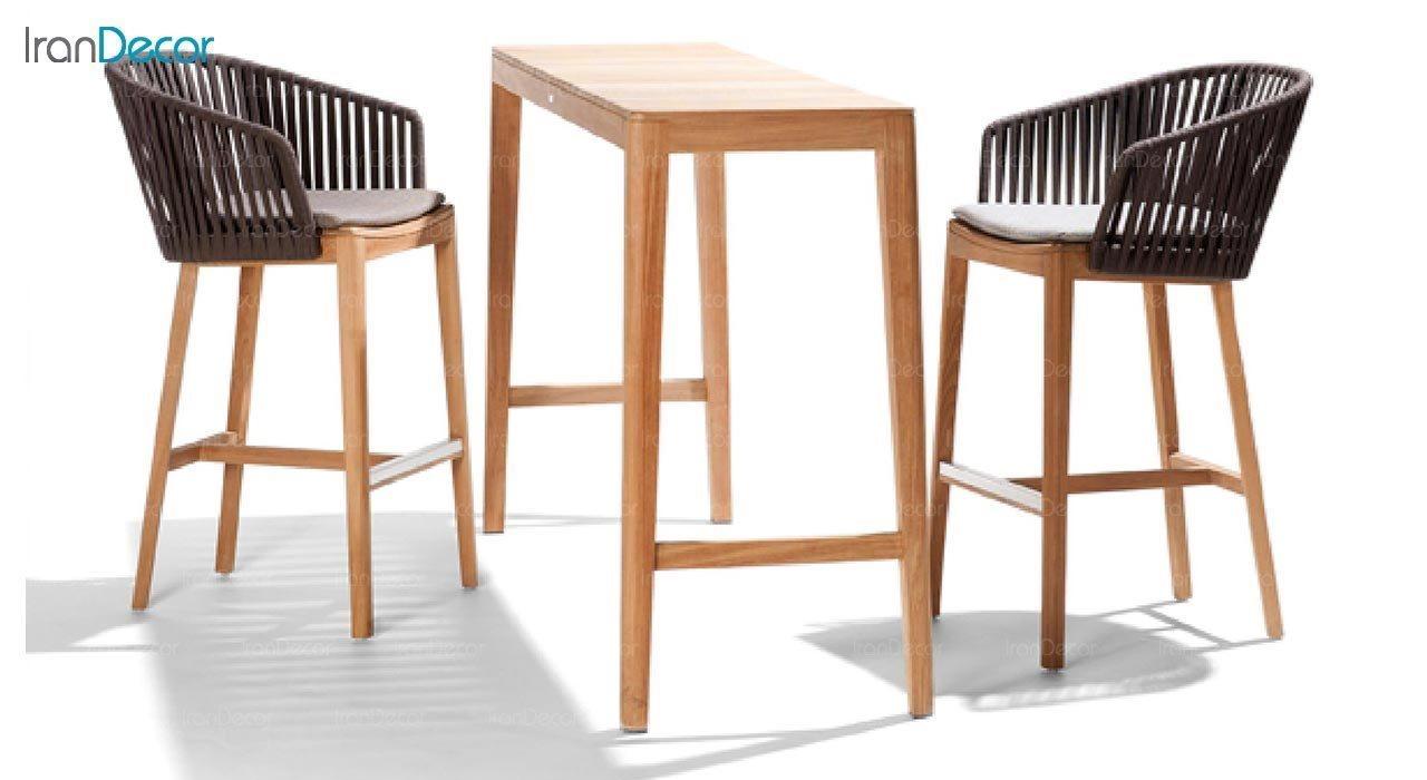 عکس صندلی کانتر پایه چوبی صنیع کار مدل تورینو