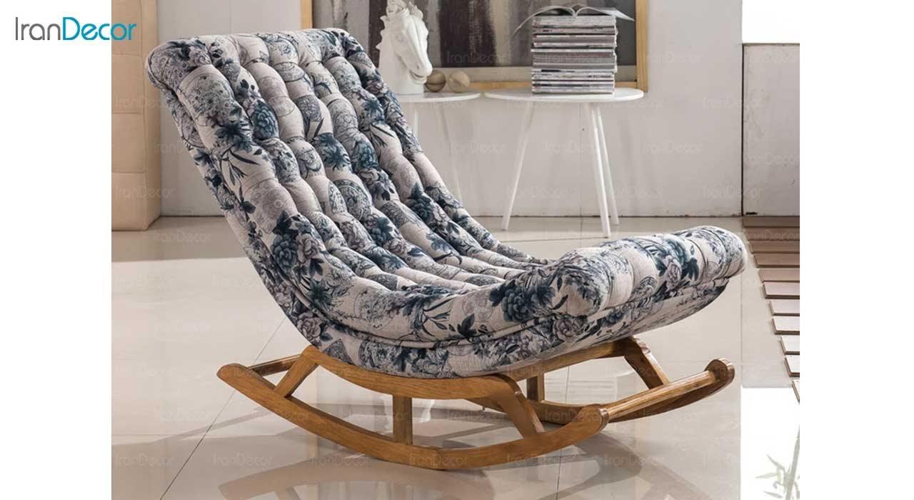 صندلی راک ریلکسی مدل آرتمیس گلدار آبی