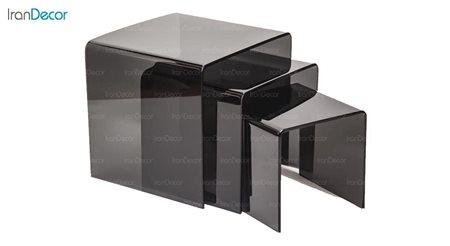 تصویر سرویس میز عسلی سه تکه شیشه ای دودی مدل کیمیا از اطلس