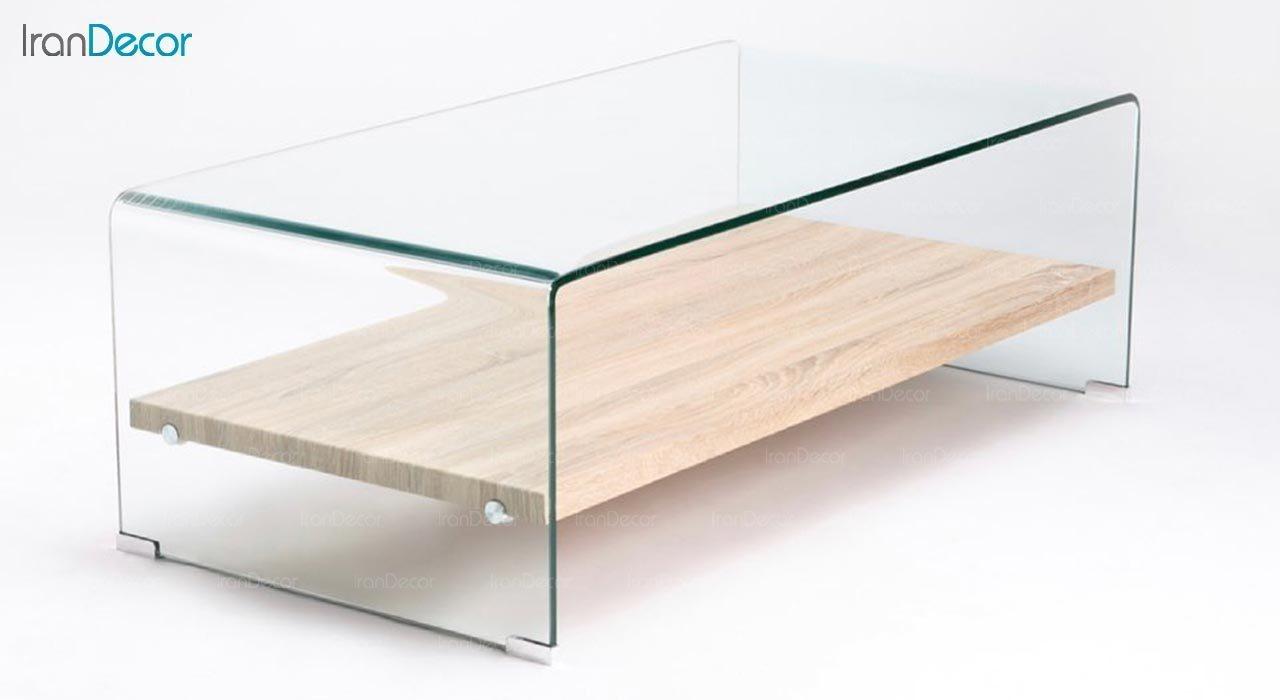 عکس میز جلو مبلی شیشه ای اطلس مدل کیمیا با طبقه چوبی