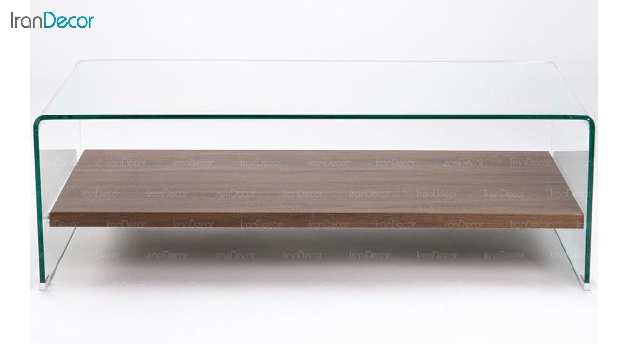 تصویر میز جلو مبلی شیشه ای اطلس مدل کیمیا با طبقه چوبی