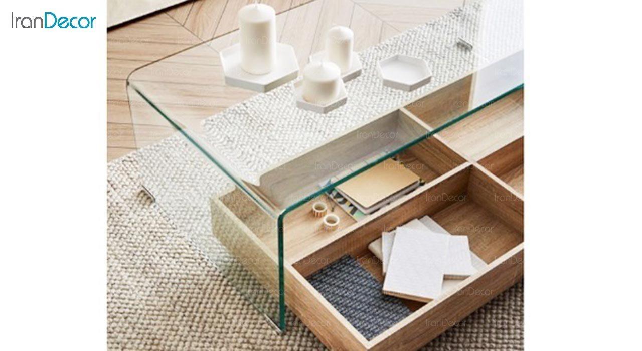 تصویر میز جلو مبلی شیشه ای اطلس مدل کیمیا باکس دار