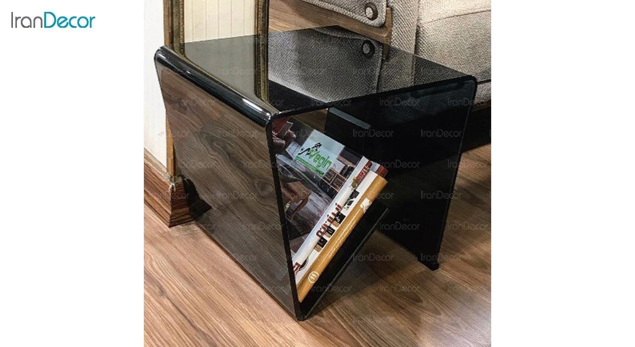 تصویر میز عسلی شیشه ای اطلس مدل ژورنال