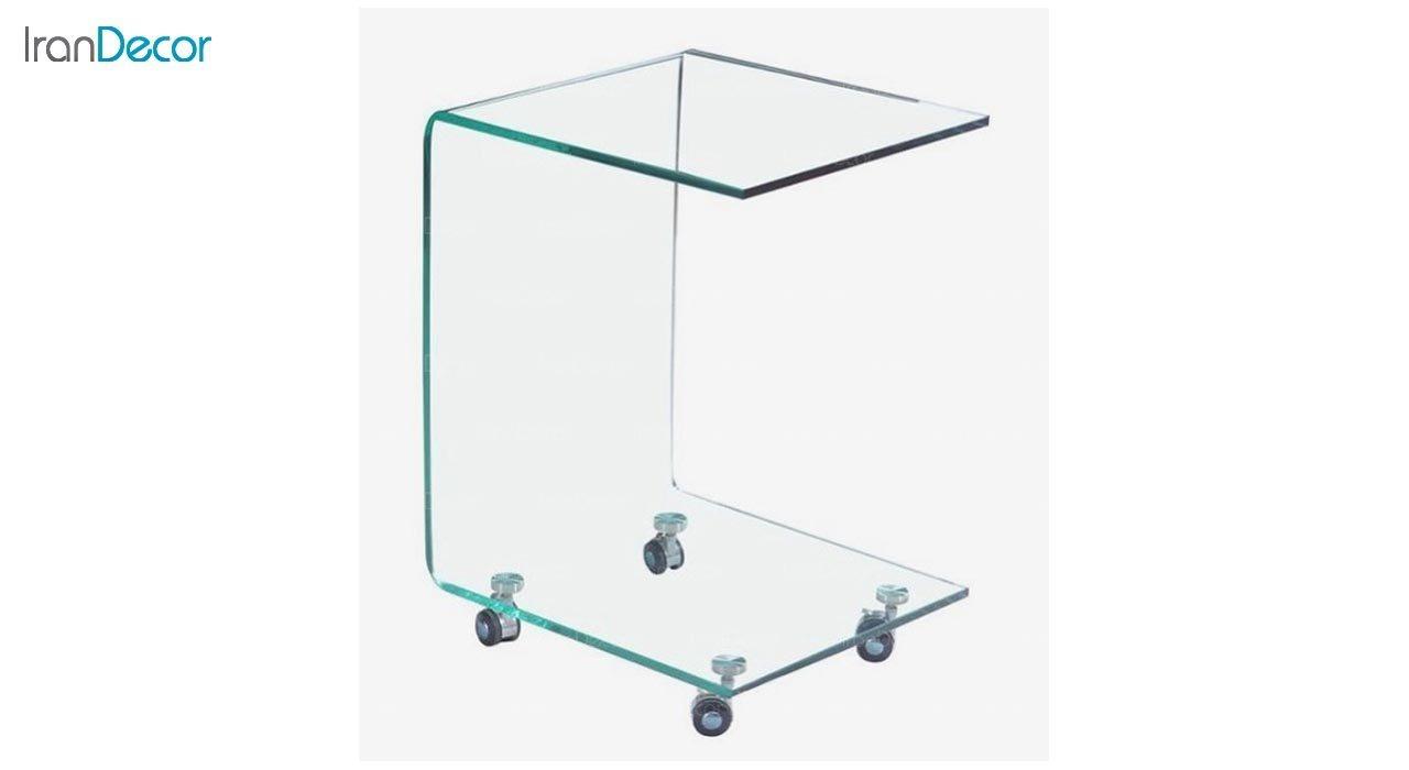 تصویر میز کنار مبلی شیشه ای چرخدار مدل اطلس