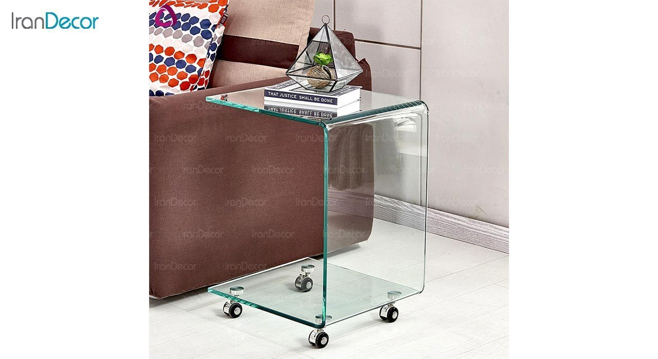 عکس میز کنار مبلی شیشه ای چرخدار مدل اطلس