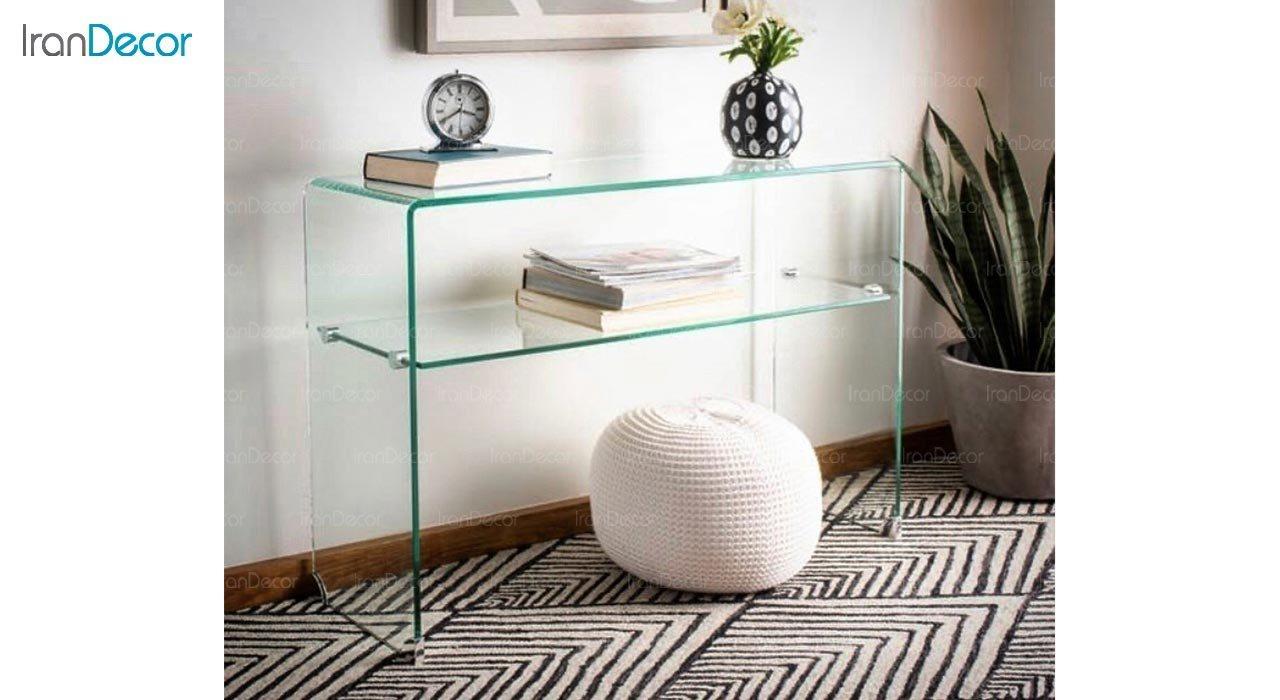 تصویر میز کنسول شیشه ای با طبقه مدل اطلس