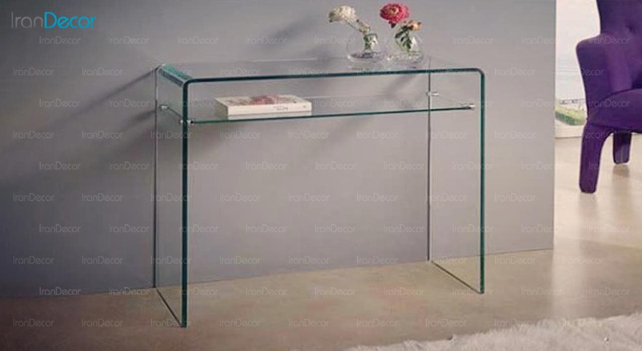عکس میز کنسول شیشه ای با طبقه مدل اطلس