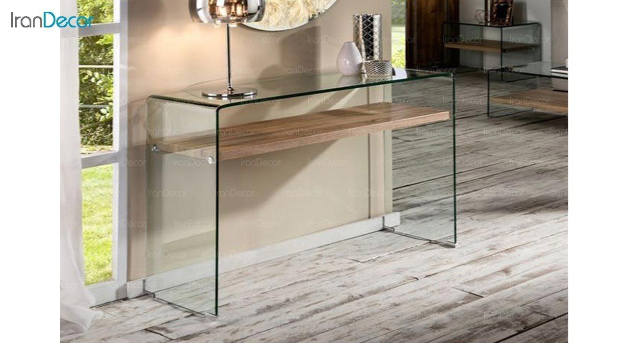 تصویر میز کنسول شیشه ای با طبقه ام دی اف مدل اطلس
