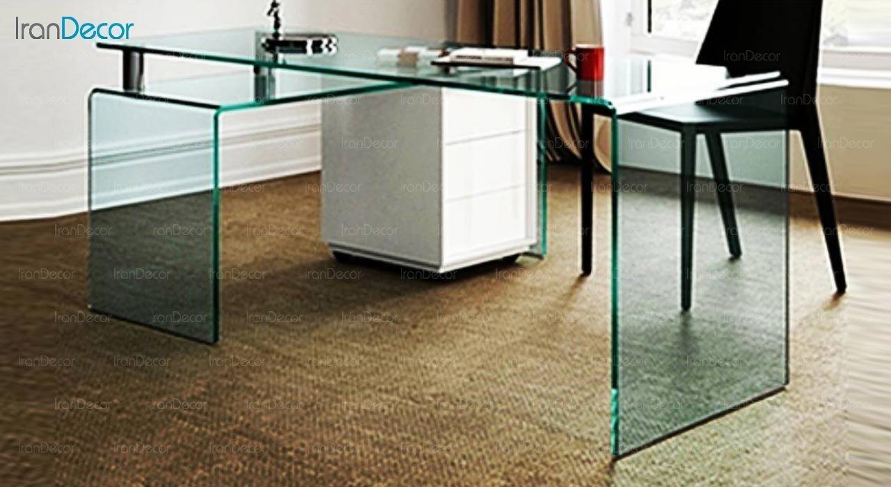 تصویر میز مدیریتی شیشه ای اطلس مدل L2000