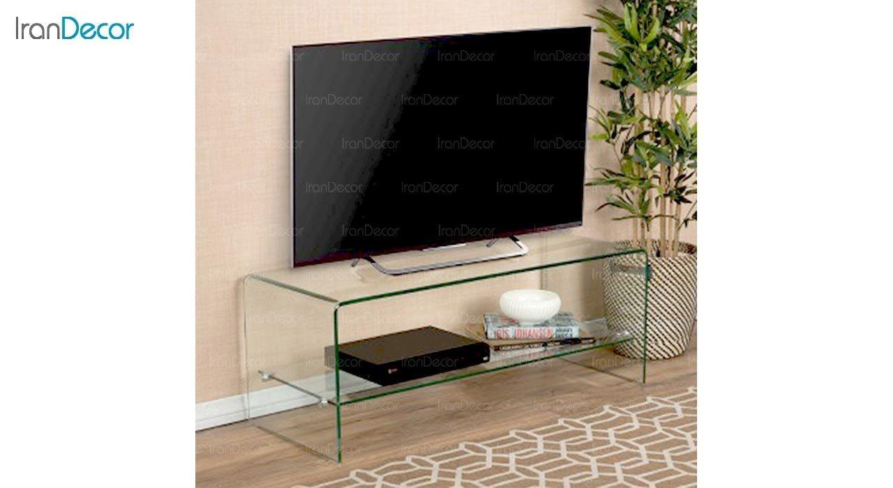 تصویر میز تلویزیون شیشه ای طبقه دار مدل اطلس