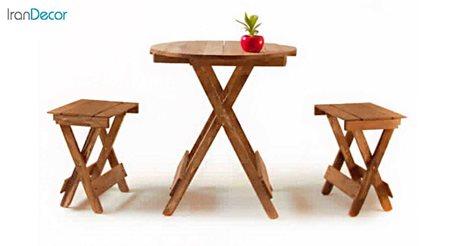 تصویر ست میز گرد و چهارپایه تاشو چوبی مدل مزرعه