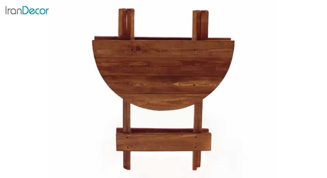 عکس ست میز گرد و چهارپایه تاشو چوبی مدل مزرعه