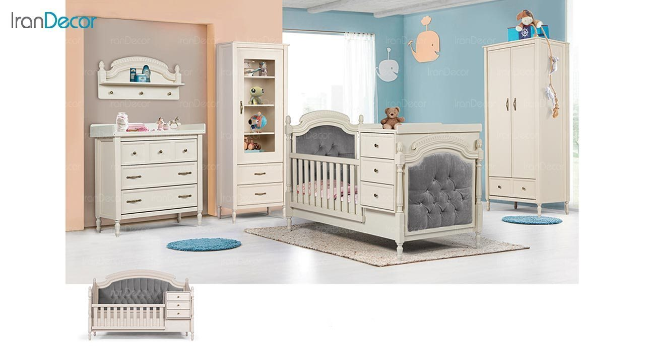 تصویر سرویس خواب نوزاد دو منظوره ماد مدل رمانتیک
