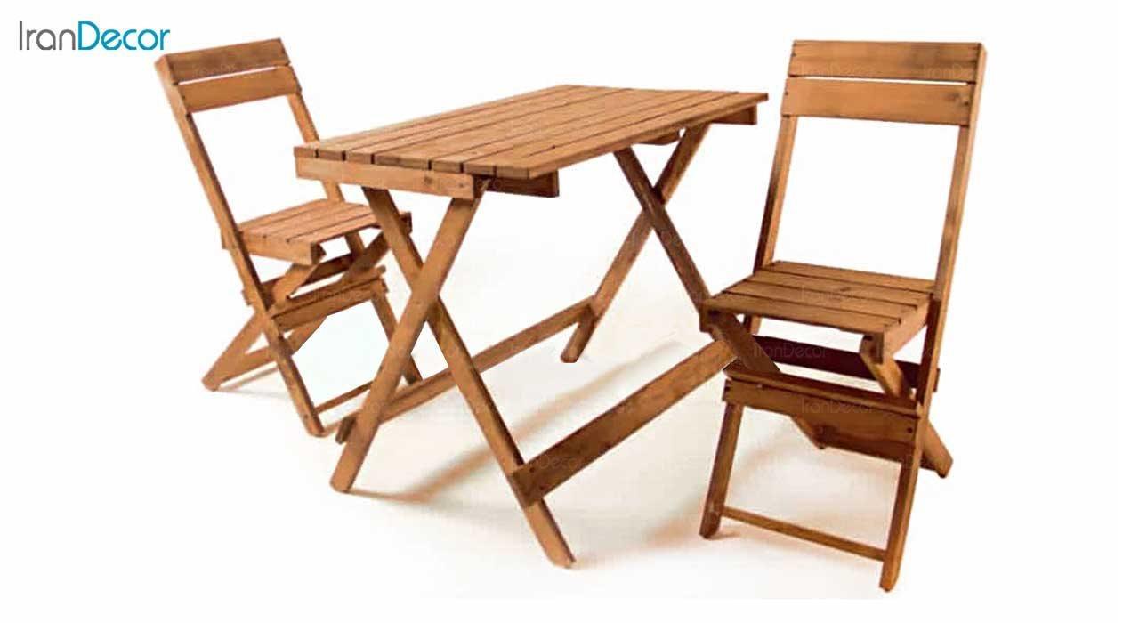 تصویر ست دو نفره میز و صندلی تاشو چوبی مدل مزرعه