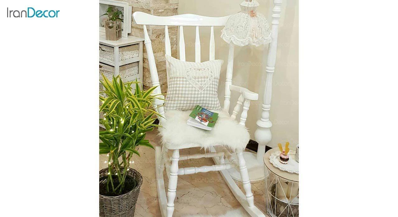 تصویر صندلی راک آمازون چوب مدل تاج ساده