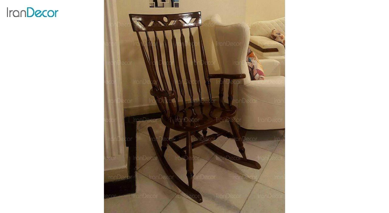 تصویر صندلی راک آمازون چوب مدل تاج لوزی