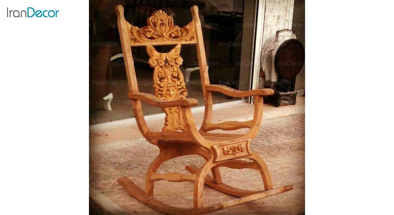 عکس صندلی راک آمازون چوب مدل زین اسبی