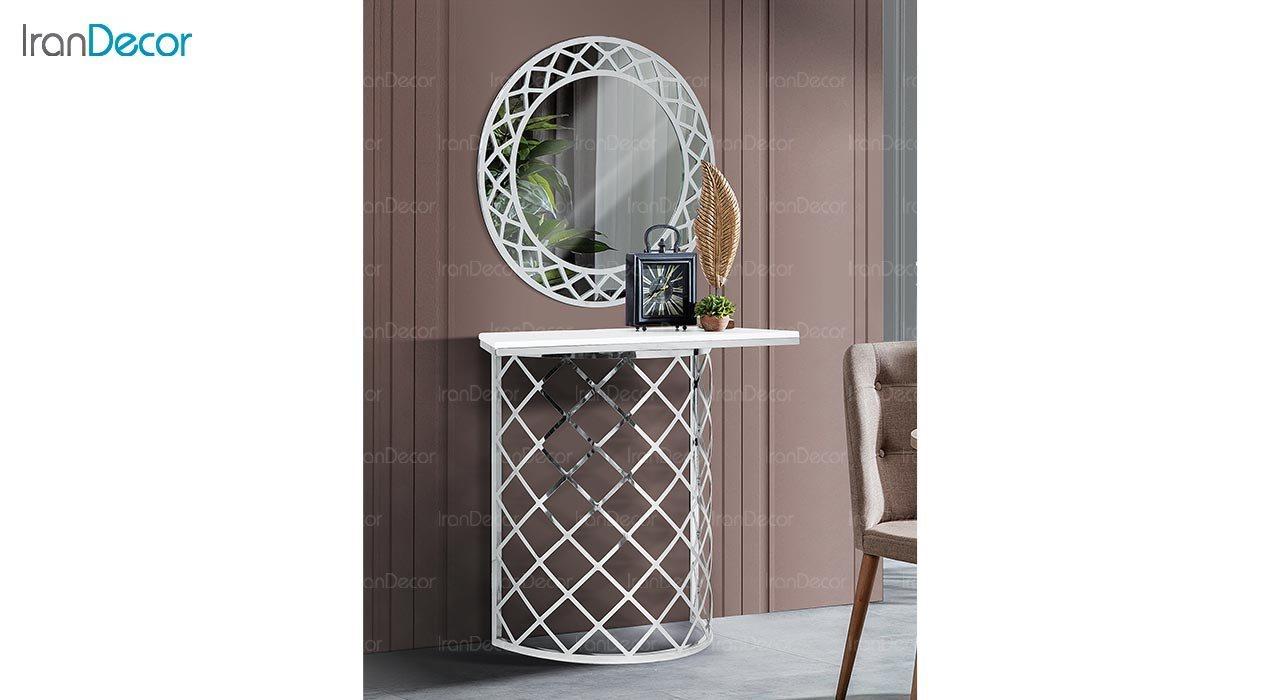 تصویر میز کنسول و آینه ماد مدل لونا