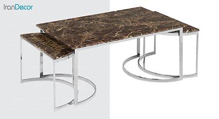 تصویر ست میز جلو مبلی طرح سنگ ماد مدل آیسل