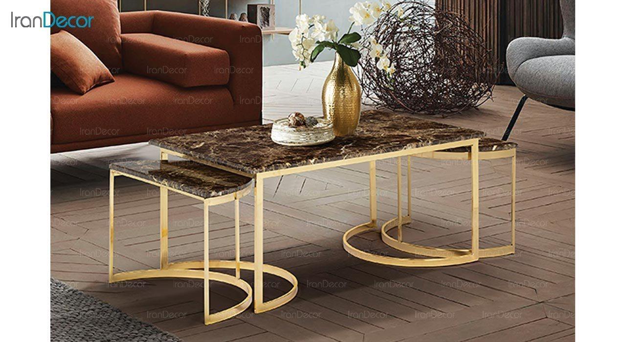 عکس ست میز جلو مبلی طرح سنگ ماد مدل آیسل