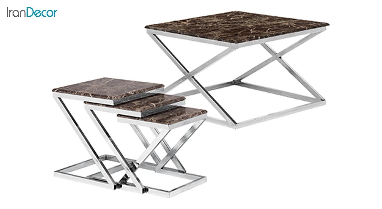 تصویر ست میز جلو مبلی طرح سنگ ماد مدل پائولو