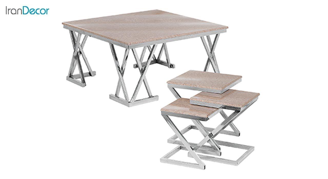 تصویر ست میز جلو مبلی طرح سنگ ماد مدل تینو