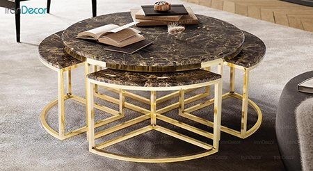 تصویر ست میز جلو مبلی طرح سنگ ماد مدل سوین