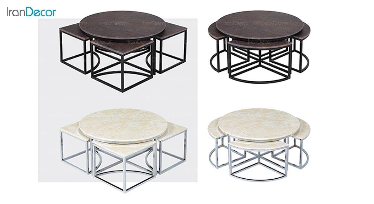 عکس ست میز جلو مبلی طرح سنگ ماد مدل سوین