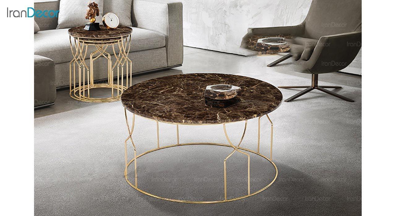 تصویر ست میز جلو مبلی طرح سنگ ماد مدل لوچیا